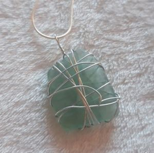 Handmade Green Sea Glass Necklace | Wire Wrapped